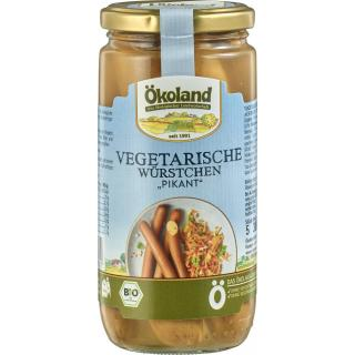 Vegetarische Würstchen pikant im Glas