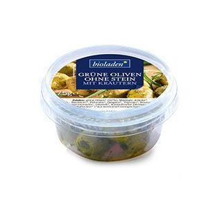 b*Grüne Oliven o. Stein mit Kräutern