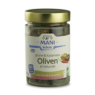 Grüne u Kalamata Oliven Chili u Kräutern mit Stein