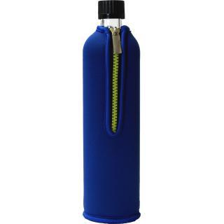 Glasflasche mit Neoprenbezug blau 500ml